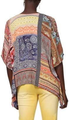 Desigual V-Neck Graphic Print Blouse with 3/4 Length Sleeves