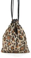 Tory Burch Brown Chain Mail Leopard Printed Mini Shoulder Bucket Handbag