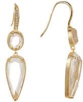 Rivka Friedman 18K Gold Clad Rock Crystal Double Drop CZ Hook Earrings
