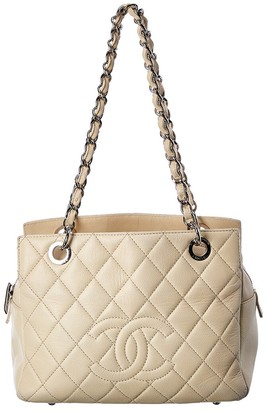 Chanel White Quilted Caviar Leather Petite Shopping Tote