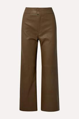 Apiece Apart Monterey Leather Straight-leg Pants - Army green