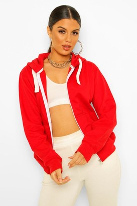boohoo Solid Colour Zip Through Hoodie