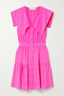 Les Rêveries Tiered Crystal-embellished Neon Silk Crepe De Chine Mini Dress - Pink