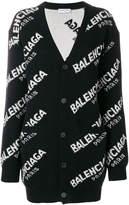 Balenciaga logo oversized cardigan