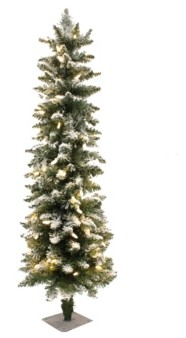 Perfect Holiday 4.5' Prelit Frosted Pencil Christmas Tree with 200 Led Lights