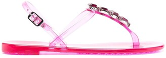 Casadei Crystal-Embellished Jelly Sandals