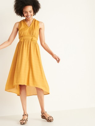 Old Navy Waist-Defined Ruffled Tie-Neck Midi for Women