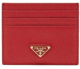 Prada Triangle Logo-plaque Saffiano-leather Cardholder - Red