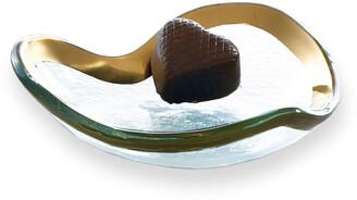 """Annieglass Roman Antique Gold 5"""" Heart Bowl"""