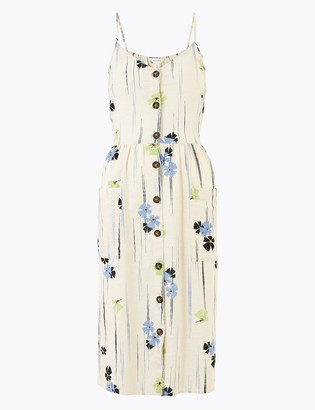 Marks and Spencer Pure Cotton Printed Midi Slip Dress