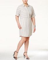 Junarose Trendy Plus Size Striped Shirtdress
