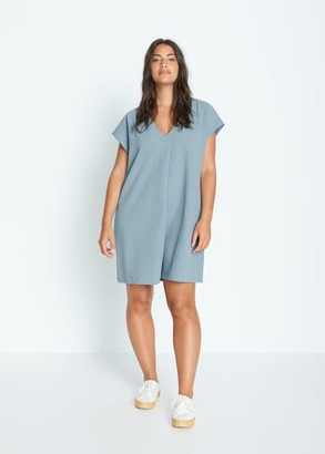 MANGO Violeta BY Short flowy dress blue - 10 - Plus sizes