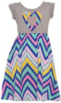 RMLA Little Girls Grey Studded Heart Applique Chevron Stripe Print Dress