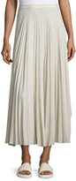 Helmut Lang Pleated Chiffon High-Waist Midi Skirt, Oyster