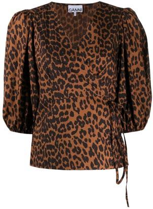 Ganni Leopard Print Wrap Blouse