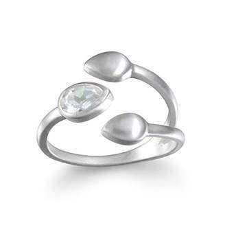 Satya Jewelry White Topaz Lotus Petal Ring Adjustable