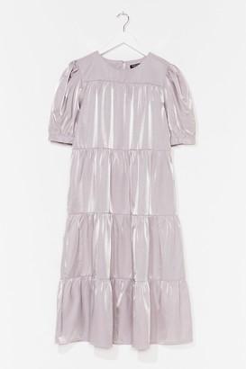 Nasty Gal Womens Tier We Go Puff Sleeve Midi Dress - Grey - 4