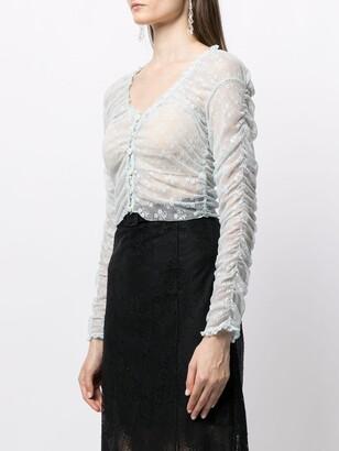 yuhan wang Floral Embroidered Sheer Blouse