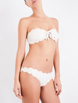 Marysia Swim Antibes scalloped lace-up bikini top