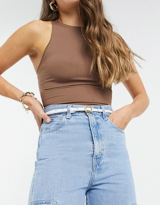 ASOS DESIGN super skinny waist and hip belt with square buckle in white