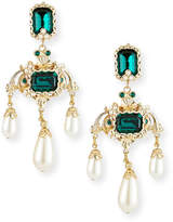 Dolce & Gabbana Emerald Glass and Pearly Statement Earrings
