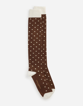 Dolce & Gabbana Stretch Cotton Jacquard Socks With Small Polka-Dots