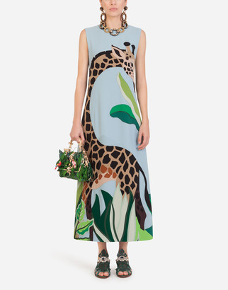 Dolce & Gabbana Long Sleeveless Dress In Cady With Giraffe Patch