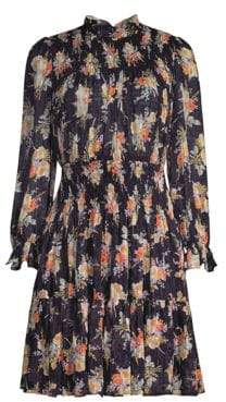 Rebecca Taylor Women's Floral Smocked A-Line Dress - Black Combo - Size Small