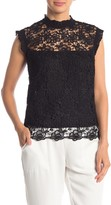 Cap Sleeves High Neck Lace Top