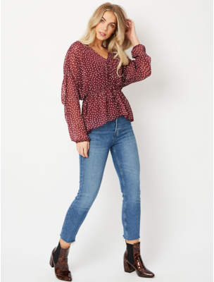 George Burgundy Polka Dot Covered Button 2 in 1 Blouse