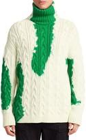 Balenciaga Long-Sleeve Bleach Turtleneck Sweater