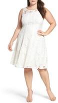 Gabby Skye Plus Size Women's Lace Fit & Flare Dress