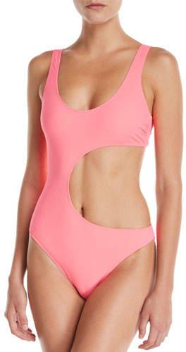 90s Fluo Scoop-Neck Cutout One-Piece Swimsuit