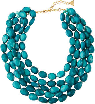Serefina Multi-Row Teal Bead Necklace