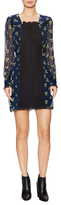 Anna Sui Silk Print Lace Panel Mini Dress