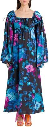 ATTICO Floral Print Square Neck Dress