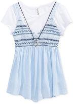 Beautees 2-Pc. Crochet Tank, T-Shirt & Necklace Set, Big Girls (7-16)