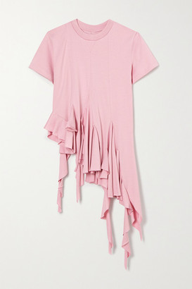 Marques Almeida Asymmetric Ruffled Cotton-jersey T-shirt - Pink