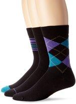 Ben Sherman Men's 3 Pack Charles Crew Sock, Purple/Multi Color, 9-12