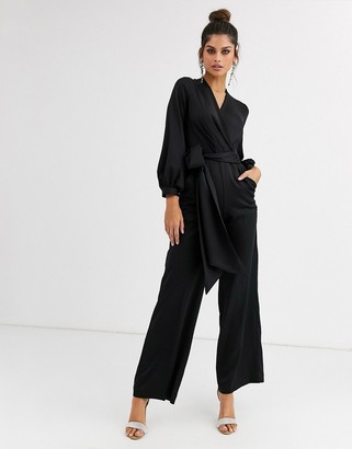 Closet London satin jumpsuit with wrap tie in black