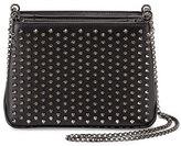 Christian Louboutin Triloubi Small Studded Leather Shoulder Bag, Black/Gunmetal