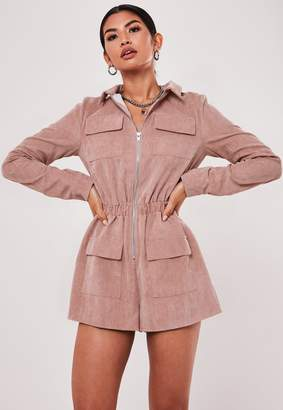 Missguided Rose Cord Zip Front Utility Playsuit