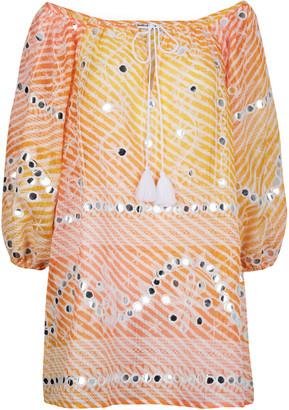 Juliet Dunn Mirror-Detailed Printed Gauze Mini Tunic Dress