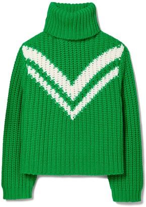 Tory Burch Merino Chevron Turtleneck Sweater