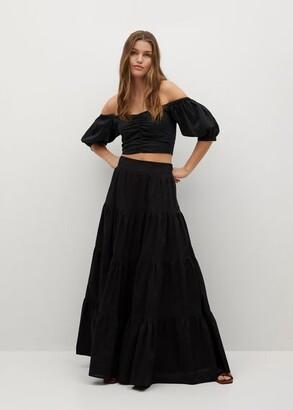 MANGO Flared poplin skirt