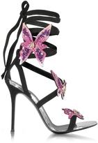 Giuseppe Zanotti Black Suede Stiletto Sandals w/Pink Butterflies