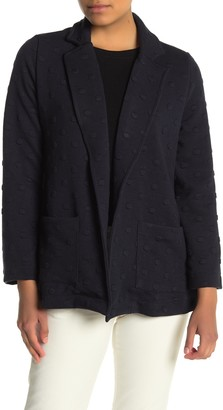 Gray La Long Sleeve Dot Textured Knit Jacket (Petite)