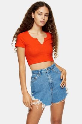 Topshop Womens Orange Ribbed Notch T-Shirt - Orange