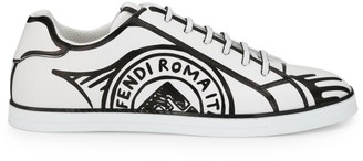 Fendi Trompe L'Oeil Stamp Leather Sneakers
