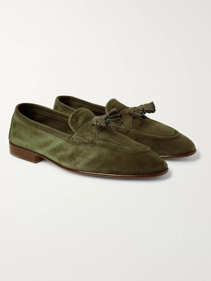 Edward Green Portland Leather-Trimmed Suede Tasselled Loafers - Men - Green